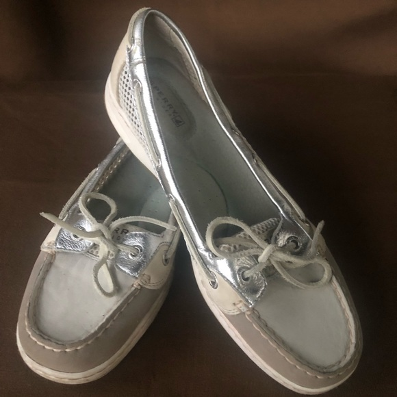Sperry Shoes - SPERRY silver gray LEATHER TOP-SIDER boat shoes
